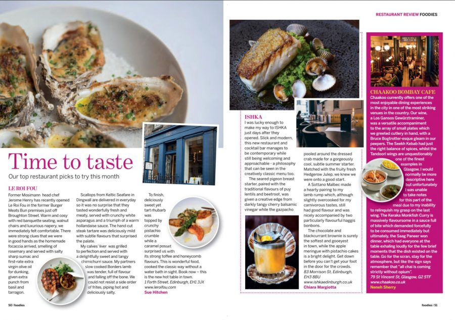 Foodies Magazine on ISHKA Edinburgh
