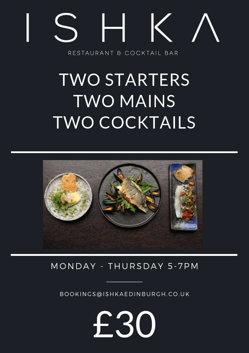 Two Mains | Two Drinks | Two Cocktails £30