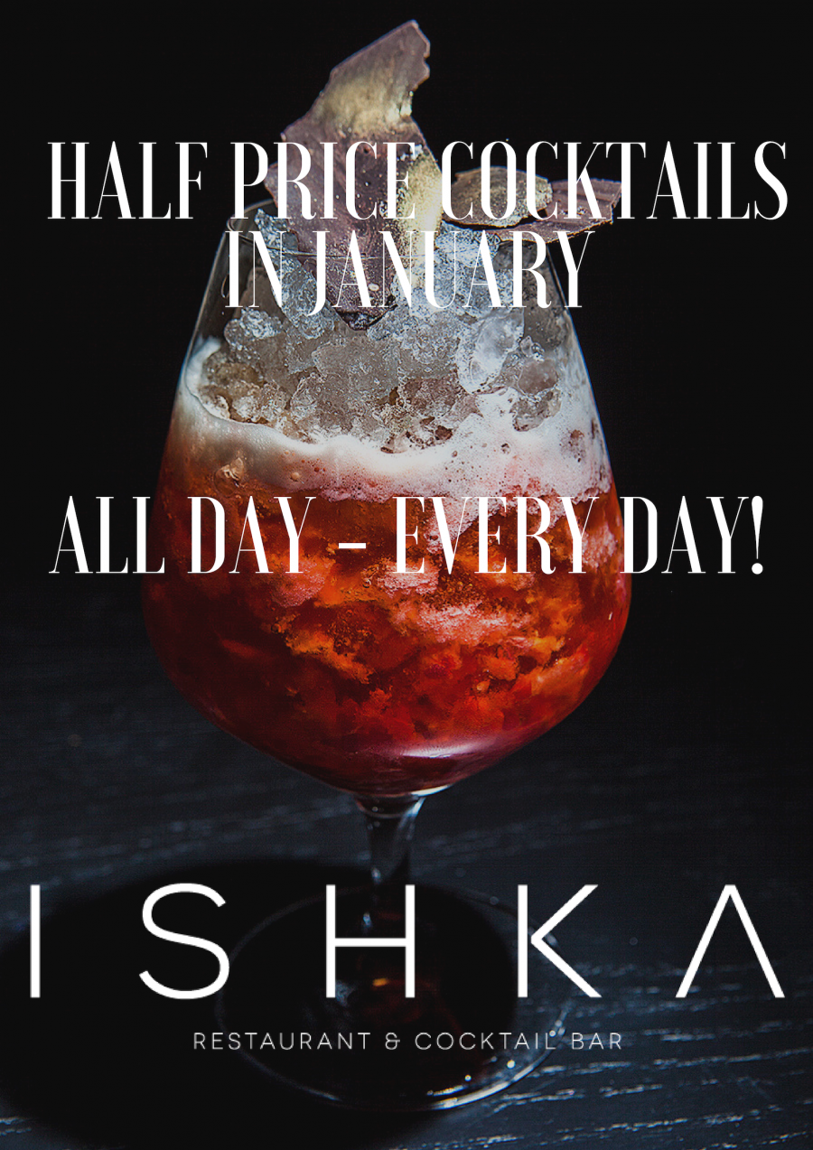 Half Price Cocktails In January! All Day, Every Day!
